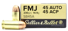 Sellier & Bellot 45 ACP 230gr FMJ Ammo - 50 rounds