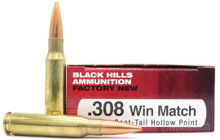 Black Hills 308 Winchester Match 168gr HP Ammo - 20 Rounds