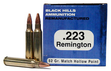 Black Hills 223 Remington 52gr  Match HP Ammo - 50 Rounds
