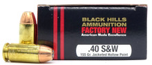 Black Hills 40 S&W 155gr JHP Ammo - 20 Rounds