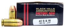 Black Hills 40 S&W 180gr JHP Ammo - 20 Rounds