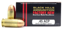 Black Hills 45 ACP 230gr FMJ Ammo - 20 Rounds