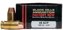 Black Hills 45 ACP 185gr  JHP Ammo - 20 Rounds