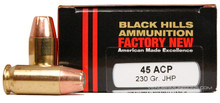 Black Hills 45 ACP 230gr  JHP Ammo - 20 Rounds