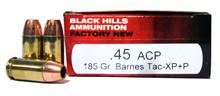 Black Hills 45 ACP 185gr  Barnes Tac XP+P Ammo - 50 Rounds