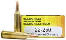 Black Hills 22-250 Remington 36gr Barnes Varmint Grenade Ammo - 20 Rounds