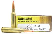 Black Hills 260 Remington 120gr Hornady GMX Ammo - 20 Rounds