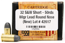 Ventura Heritage 32 S&W Short 80gr RN New Ammo - 50 Rounds