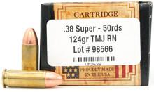 Ventura Heritage 38 Super 124gr TMJ Ammo - 50 Rounds