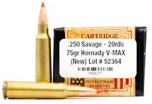 Ventura Heritage 250 Savage 75gr V-Max Ammo - 20 Rounds