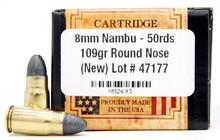Ventura Heritage 8mm Nambu 109gr RN Ammo - 50 Rounds