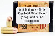 Ventura Heritage 9mm Makarov 96gr RN Ammo - 50 Rounds