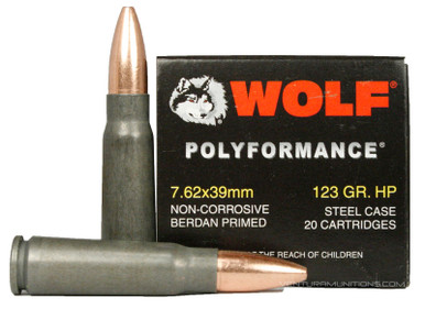 Wolf Polyformance 7.62x39mm 123gr HP Bulk Ammo - Closeup