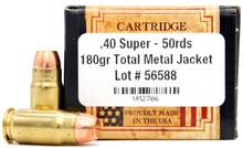 Ventura Heritage 40 Super 180gr TMJ Ammo - 50 Rounds