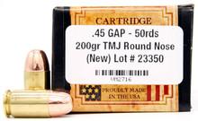 Ventura Heritage45 Gap 200gr TMJ Ammo - 50 Rounds