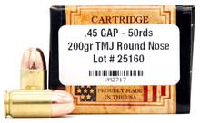 Ventura Heritage 45 Gap 230gr TMJ Ammo - 50 Rounds