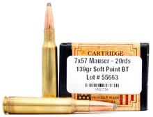Ventura Heritage 7x57 Mauser 139gr BTSP Ammo - 20 Rounds
