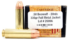 Ventura Heritage 50 Beowulf 335gr FMJ Ammo - 20 Rounds