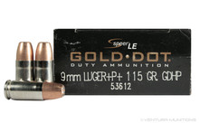 Speer LE 9mm Luger 115gr +P+ LE Gold Dot HP - 50 Rounds
