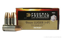 Federal Premium Law Enforcement 9mm 124gr +P LE HST - 50 Rounds