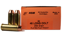 HSM 45 Long Colt 255gr Copper Bonded FP Ammo - 50 Rounds