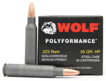 Wolf Polyformance 223 Remington 55gr HP Ammo - 500 Rounds