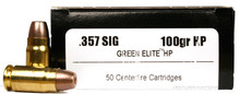 International Cartridge 357 Sig 100gr Green Elite HP Duty Frangible Ammo - 50 Rounds