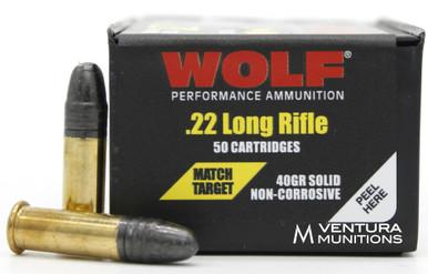 Wolf 22LR 40gr Match Target RN - 50 Rounds