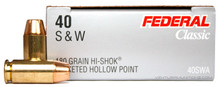 Federal Classic .40 S&W 180gr Hi-Shok® JHP - 50 Rounds