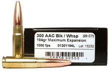 Lehigh Defense 300 Whisper Subsonic 194gr gr ME - 20 Rounds