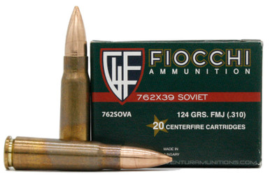 Fiocchi 7.62x39mm 124gr Brass Cased FMJ - 20 Rounds