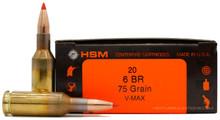 HSM 6BR 75gr. V-Max Ammo - 20 Rounds