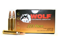 WOLF GOLD .223 Rem 55gr FMJ Brass Cased Ammo - 20 Rounds