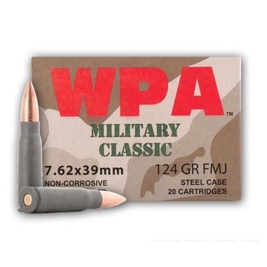 Wolf Military Classic 7.62x39mm 123gr FMJ Ammo - 1000 Rounds