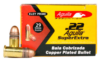 Aguila SuperExtra .22 Short 29gr HV Copper Plated RN Ammo - 50 Rounds