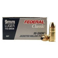 Federal Classic Hi-Shok 9mm 115gr JHP Ammo - 50rds
