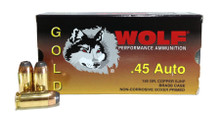 WOLF GOLD .45 ACP 230gr JHP Brass Cased Ammo - 50 Rounds