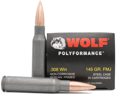 Wolf Polyformance .308 Win 145gr FMJ Ammo - 20 Rounds