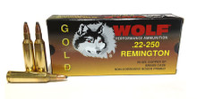 Wolf Gold .22-250 Rem 55gr SP Ammo - 20 Rounds