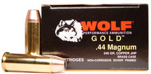 WOLF GOLD .44 Magnum 240gr JHP Brass Cased Ammo - 50 Rounds