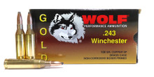 WOLF GOLD .243 Win 100gr SP Brass Cased Ammo - 20 Rounds