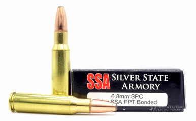Silver State Armory 6.8 SPC 90gr Nosler PPT Bonded Core Ammo - 20 Rounds