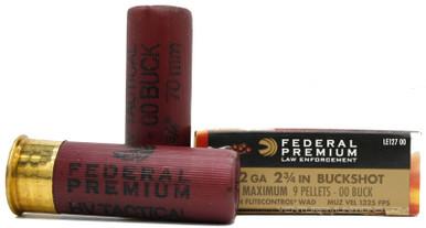 "Federal Tactical 12 Ga 00 Buckshot 2-3/4"" 9 Shot HV Ammo - 5 Rounds"