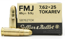 Sellier & Bellot 7.62x25 Tokarev 85gr FMJ Ammo - 50 Rounds