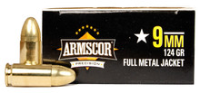 Armscor 9mm 124gr FMJ Ammo - 50 Rounds