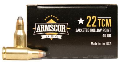 Armscor 22 TCM 40gr JHP Ammo - 50 Rounds