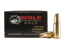 Wolf Gold 7.62mm Tokarev 85gr JHP Ammo - 50 Rounds