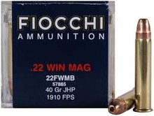 Fiocchi 22 Win Mag 40gr JHP Ammo - 50 Rounds