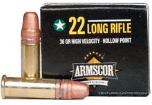 Armscor 22lr High Velocity 36gr HP Ammo - 50 Rounds