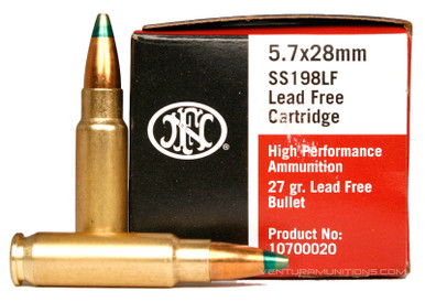 FNH 5.7x28 27gr Red Box LE Green Tip Lead Free SS198LF - 50 Rounds